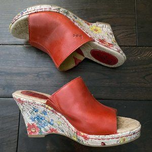 B.o.c Red floral wedges